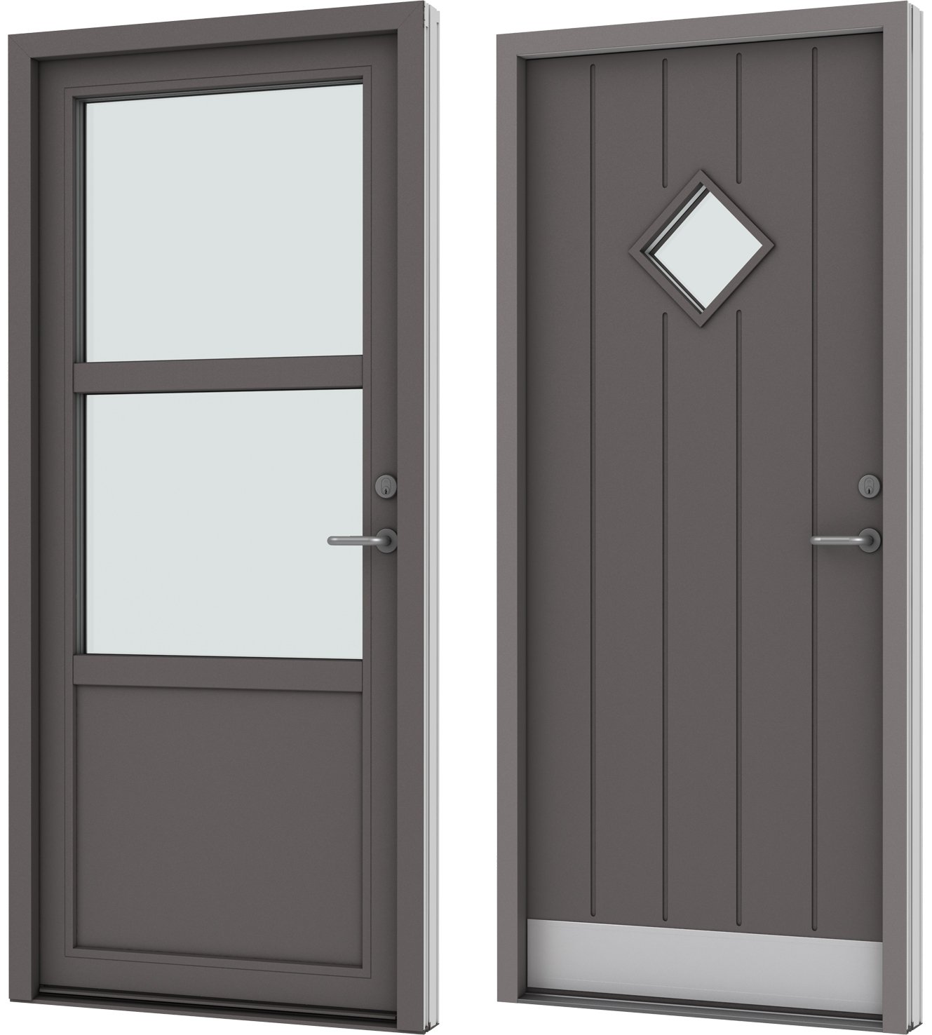 Entrance door in wood and aluminium